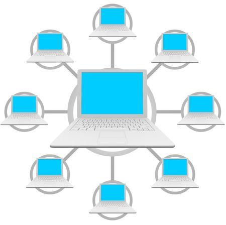 Placez votre propre message sur les écrans des ordinateurs portables connectés à un réseau social Banque d'images - 4736394