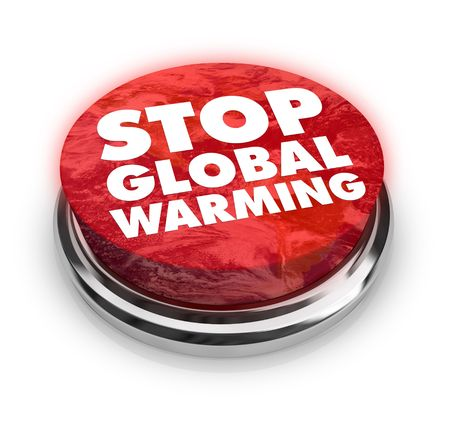 Een knop met de woorden: Stop Global Warming op het