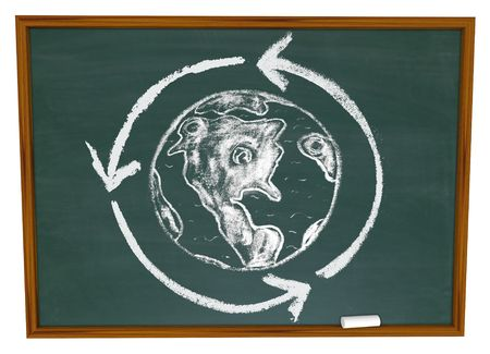 A drawing of the Earth surrounded by a recycling circle on a chalkboard