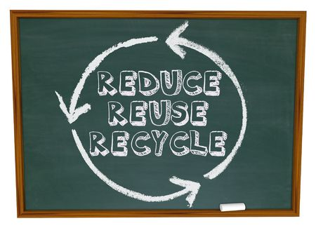 The words Reduce, Reuse and Recycle surrounded by a recycling circle on a chalkboard photo