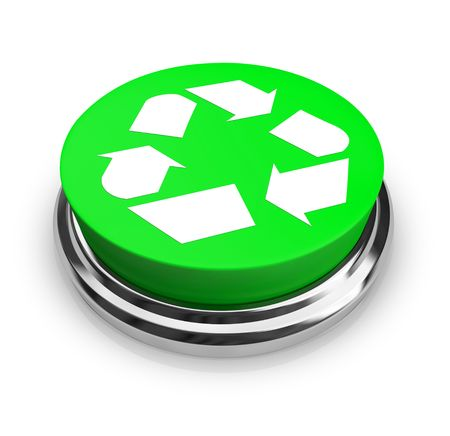 recycles: A green button with the recycling symbol on it