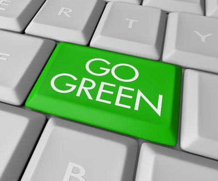 planeta verde: Un teclado con una clave de lectura Ir Verde Foto de archivo
