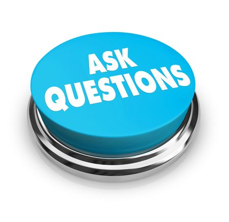 A blue button with the words Ask Questions on it photo