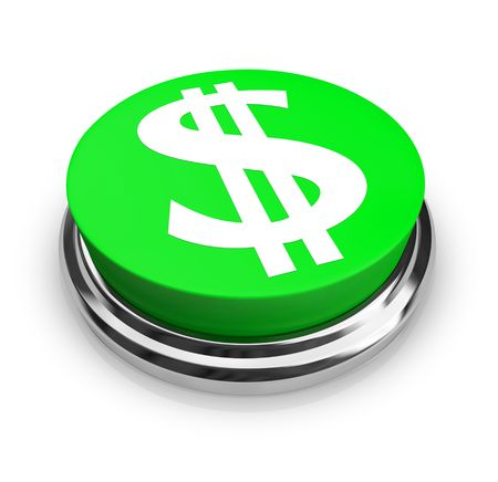 A green button with the US Dollar symbol on it Stock Photo - 4801353