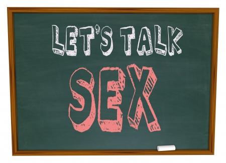 Las palabras Hablemos de sexo en un pizarrón