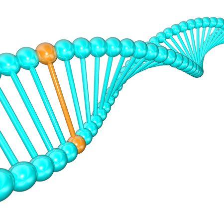 Een blauwe spi ral ing bundel van DNA met een gelicht unieke helix