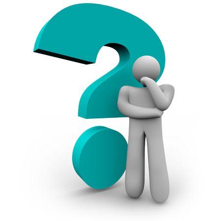 Una persona está pensando, junto a un signo de azul Foto de archivo - 4813637