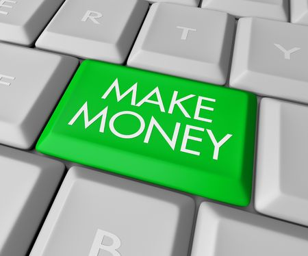 earn: Un teclado con una tecla verde lectura Hacer Dinero
