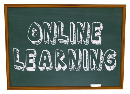 schoolwork: The words Online Learning on a chalkboard