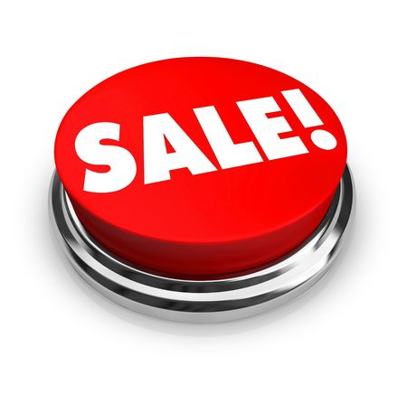 price cutting: A red button with the word Sale on it