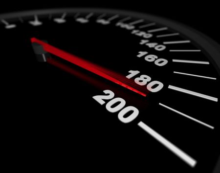 A speedometer showing a vehicles speed being pushed to the maximum photo