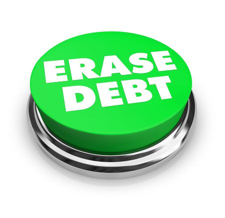A green button with the words Erase Debt on it Stock Photo