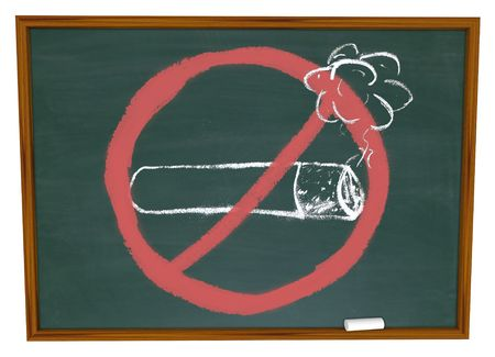 quit: The No Smoking symbol over a cigarette drawn on a chalkboard Stock Photo
