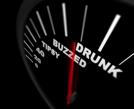 surpassing: A speedometer measuring how drunk the driver is