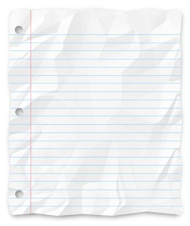 schoolwork: A white, wrinkled piece of lined school paper background for slides, brochures and presentations. Stock Photo