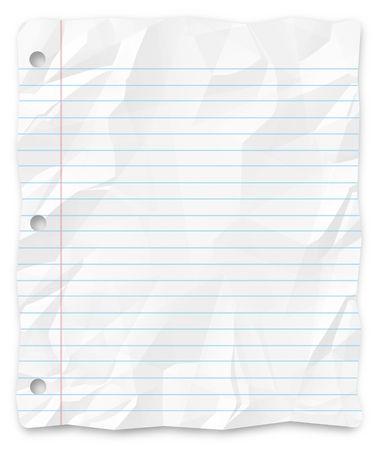 foglio a righe: Un bianco, rugosa pezzo di carta di fondo foderato scuola per diapositive, opuscoli e presentazioni.
