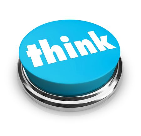 A blue button with the word Think on it photo