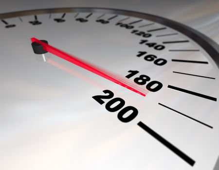 fastest: A white automobile speedometer with red needle pushing toward 200