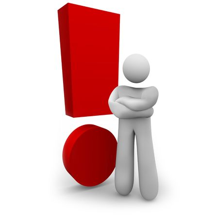 A person stands angrily beside a red exclamation mark