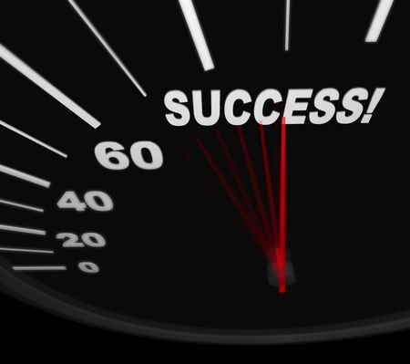 dashboard: A black automobile speedometer with red needle pushing to the word Success Stock Photo