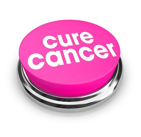 testicular cancer: A pink button with the words Cure Cancer on it
