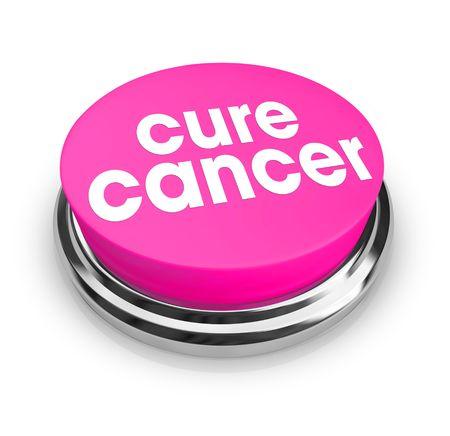canc�rologie: Un bouton rose avec les mots cure du cancer dessus  Banque d'images