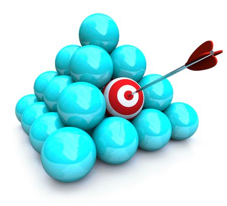 An arrow hits the target in a pyramid of balls - symolizing targeted marketing