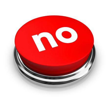 review: A red button with the word No on it Stock Photo