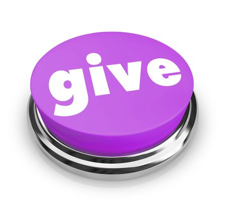 fundraiser: A purple button with the word Give on it