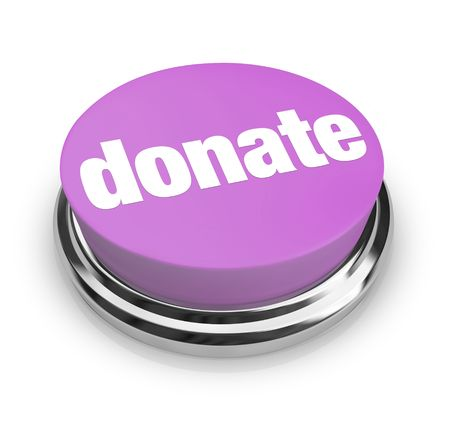 A purple button with the word Donate on it photo