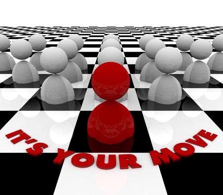 planeaci�n estrategica: Una figura de color rojo sobre un tablero de ajedrez contempla su siguiente paso