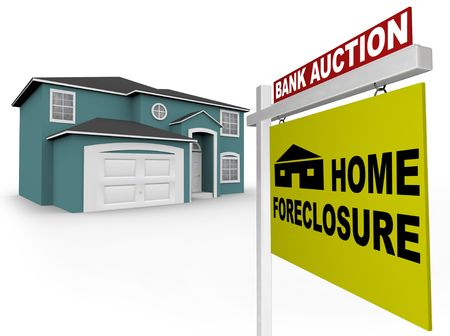 A home foreclosure sign stands in front of an attractive home Stock Photo - 5041493