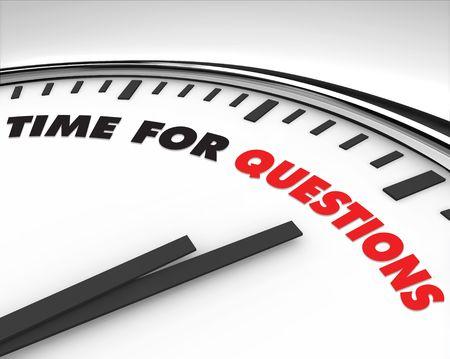 answer question: Bianco orologio con le parole tempo per le domande sul suo viso Archivio Fotografico