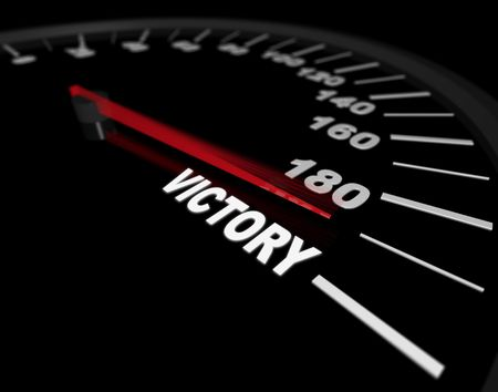 mileage: A speedometer showing the needle pushing toward the word Victory