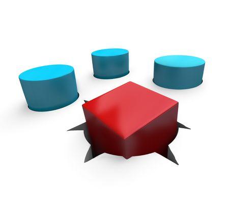 Eine rote Würfel ist ein schlechter passen in eine runde Loch Standard-Bild