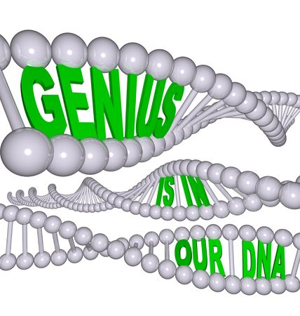 Spiral strands containing the words Genius is in Our DNA photo