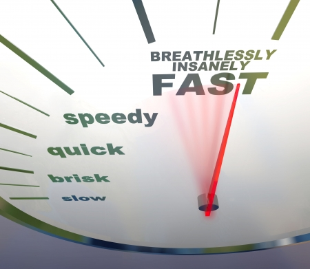 mileage: A speedometer with needle racing to the words Breathlessly, Insanely Fast Stock Photo