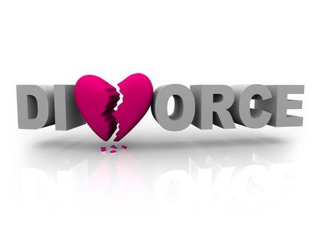Het woord echtscheiding met een roze gebroken hart voor de V