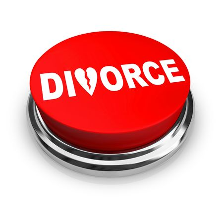 divorce court: A red button with the word Divorce on it