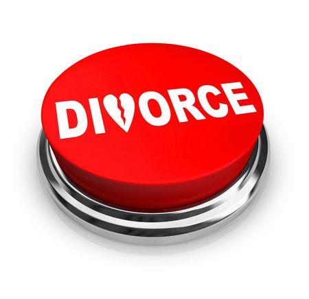 Een rode knop met het woord echtscheiding op het