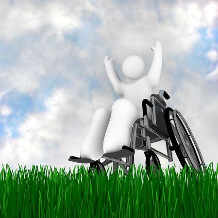 niños discapacitados: Una persona en silla de ruedas disfrutar al aire libre, en un césped verde bajo un cielo azul