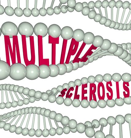 sequencing: The words Multiple Sclerosis hidden in a strand of DNA Stock Photo