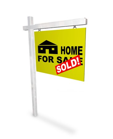 A sign Home for Sale - with a red sticker over it reading Sold Stock Photo - 5121819