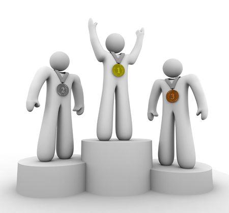 legen: Drei Preistr�ger stehen mit ihrem 1., 2. und 3. Platz Medaillen Lizenzfreie Bilder