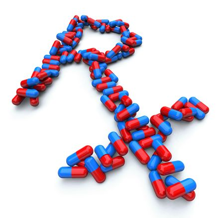 Many blue and red capsules form Rx pharmacist symbol photo