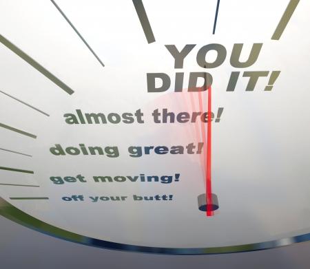 uaktywnić: A prędkościomierza pokazano wyrazy You Did It!