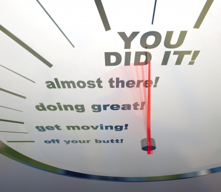 stimulate: A speedometer showing the words You Did It!