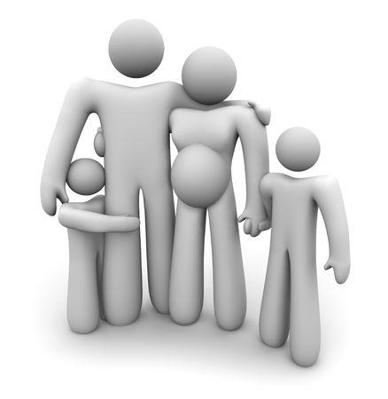 Een gezin van vier personen staat samen hand in hand: moeder, die verwacht dat een ander kind, vader en twee kinderen