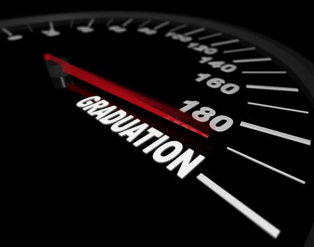 A speedometer showing the needle pushing toward the word Graduation photo