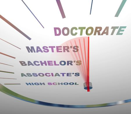 A speedometer shows the vaus levels of college degrees Stock Photo - 5198818